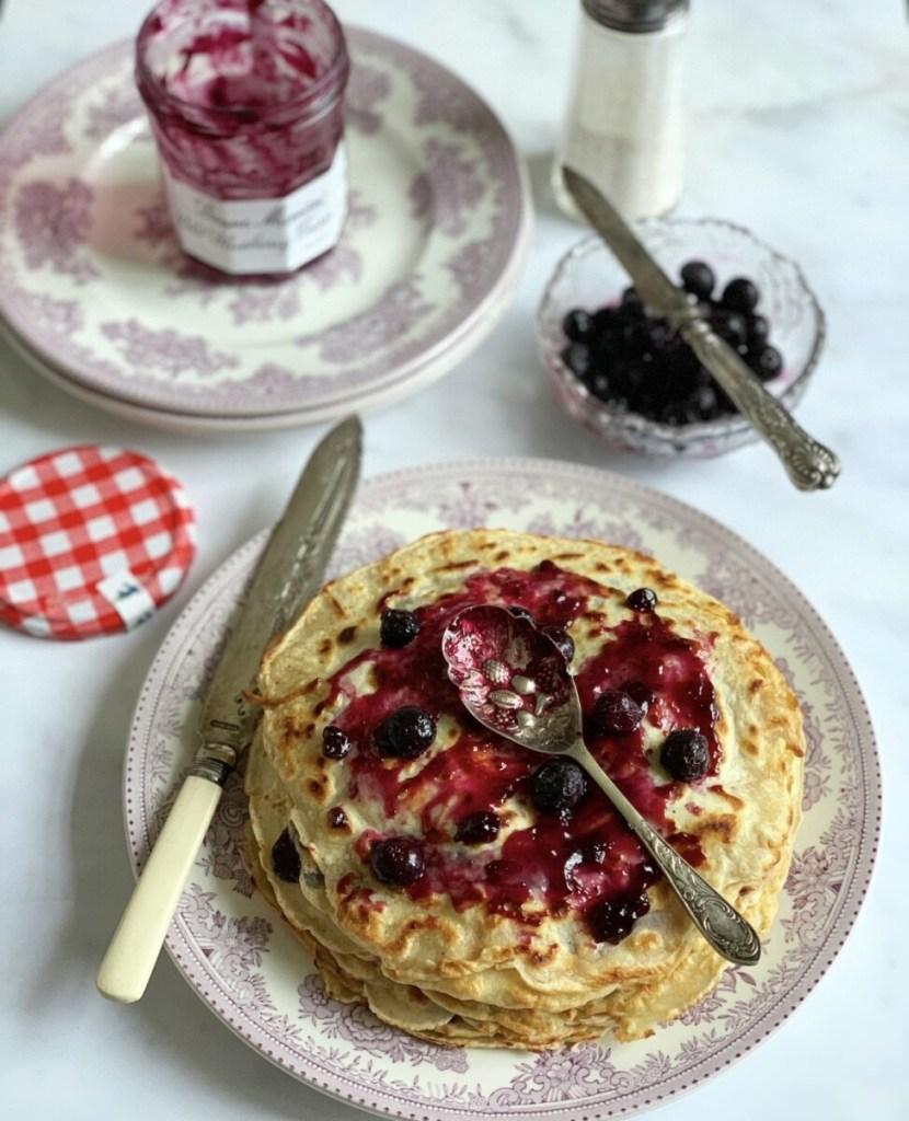 Pancakes with Wild Blueberry Jam