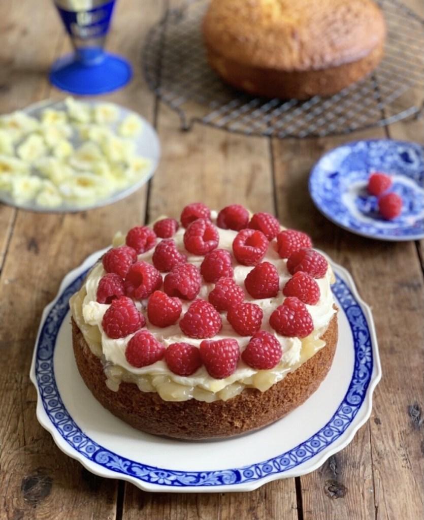 Lemon & Elderflower Cake with Raspberries