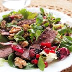 A Romantic Meal for Two – Pan-Fried Duck Breast Salad with Mixed Berries & Walnuts