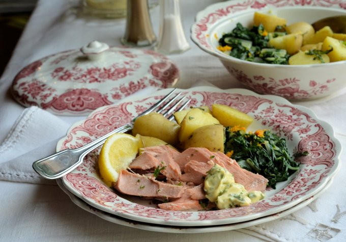 Foil-Poached Salmon with Herb Mayonnaise, Spring Greens and New Potatoes