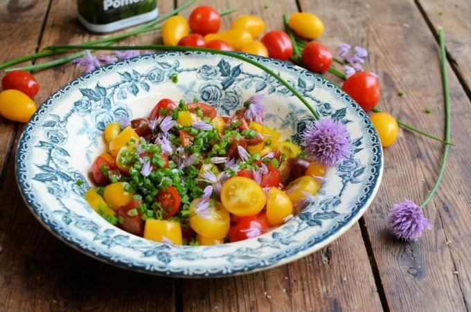 Heirloom Tomato & Chive Flower Salad