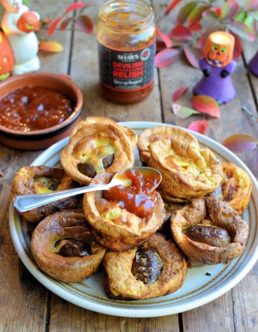 Mini Toads in the Hole with Devilish Tomato & Chilli Relish