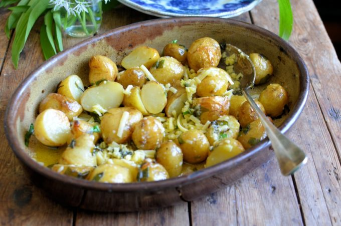 Cheesy Roast New Potatoes with Wild Garlic