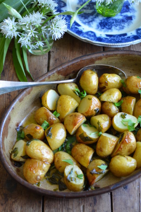 Jersey Royals roasted with wild garlic
