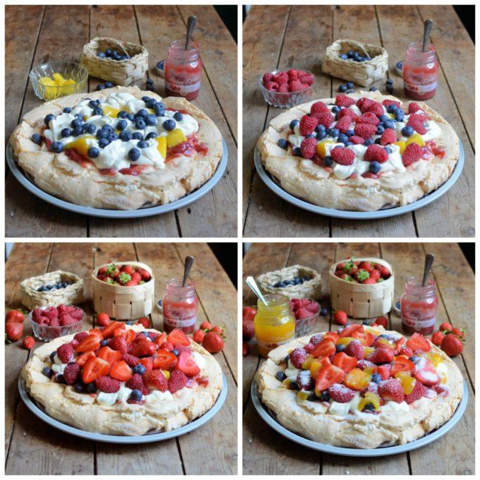 Fruit Pavlova collage 2