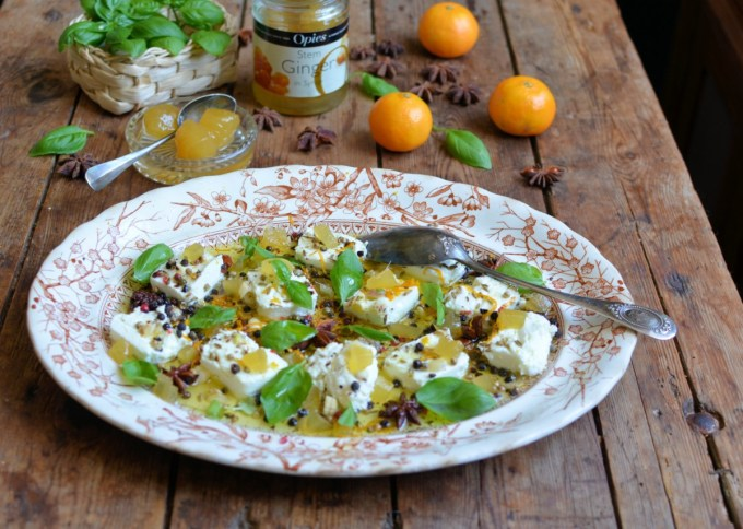 Marinated Goats Cheese with Stem Ginger - A spectacular recipe using local Welsh goats cheese with ginger, fennel, star anise, orange & garlic in olive oil
