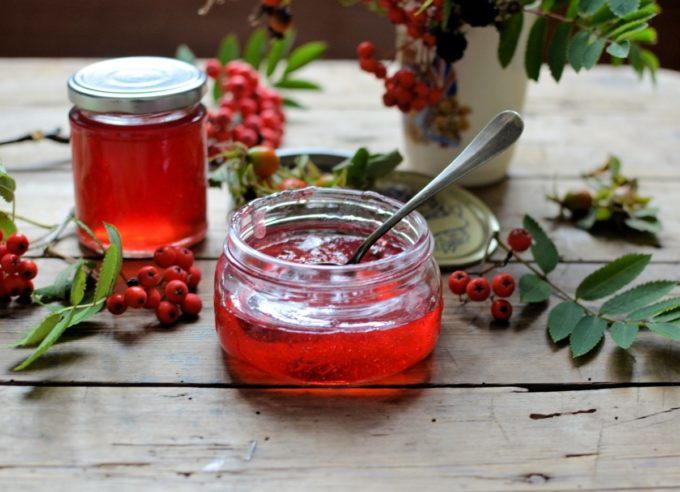 "Rowan and Apple Jelly - A deliciously smoky, tangy and jewel-like jelly that goes perfectly with game, lamb, cheese and charcuterie. Made from ""free"" foraged berries."