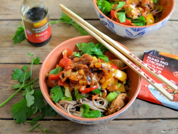 Kung Pao Stir-Fry Chicken and Noodle Bowls