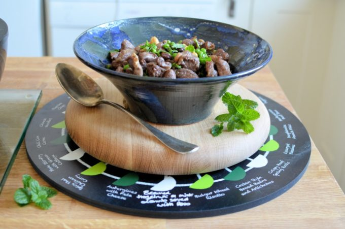 Hazelnut and Mint Lamb with Peas