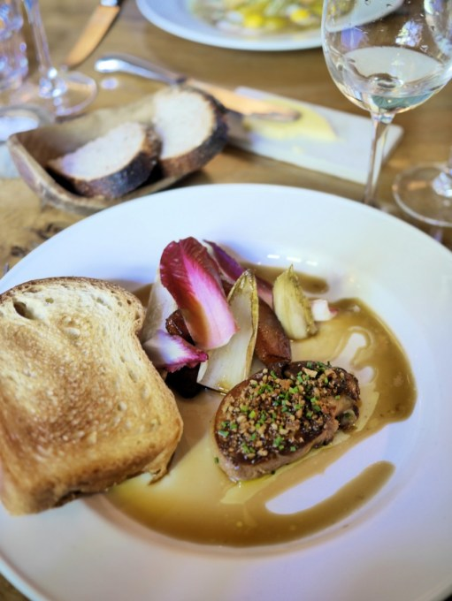 duck liver parfait (foie gras) with endive leaves and toasted brioche