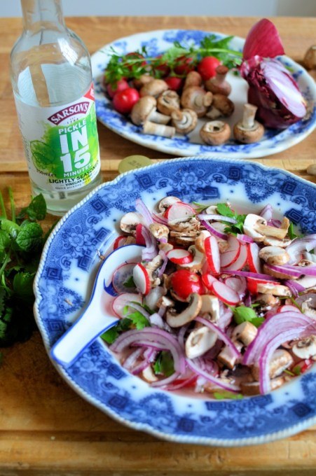 HOME ABOUT KAREN PR & Disclosure Press and As Seen In… Privacy Policy FREELANCE Work with Me Recipe Development Travel With Me RECIPE BOX Baking Dairy Dessert Fish General Meat Preserves Seasonal Recipes Snacks Vegetarian KITCHEN TIPS TRAVEL Africa Asia Australasia Europe North America South America GIVEAWAYS Current Giveaways and Competitions Past Giveaways and Competitions CONTACT You are here: Home / Recipes / Hot and Sour Chicken Soup with Quick Pickled Mushrooms, Radishes and Red Onion Hot and Sour Chicken Soup with Quick Pickled Mushrooms, Radishes and Red Onion