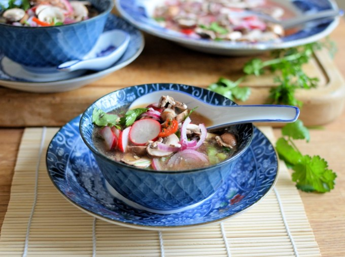 Quick Pickled Mushrooms, Radishes and Red Onion