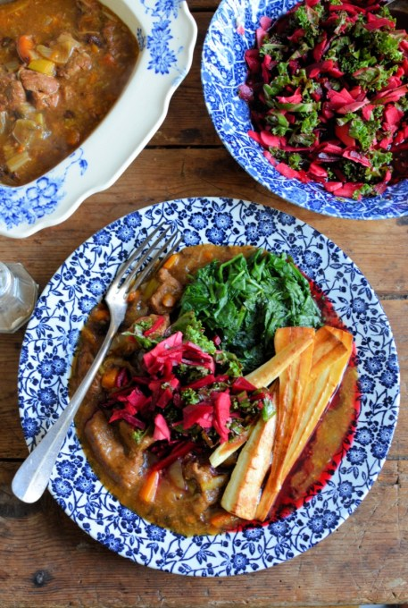 Winter Beef Braise & Quick Pickled Kale, Parsnips and Beetroot