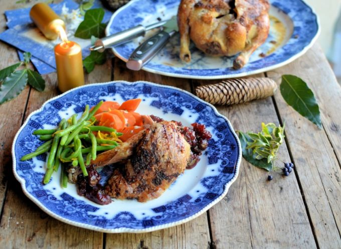 French roast duck with cherries for Christmas