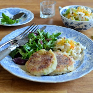 Turkey Hash Cakes with Quick Pickled Cauliflower & Clementines