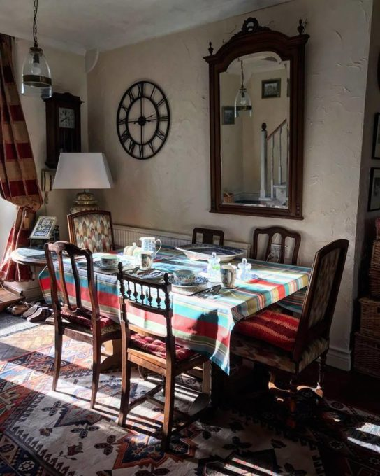 We've had sunlight here today.....here it is flooding through the French window onto the dinner table, which is set up ready for the B & B guests. Homemade yogurt is being made as well as some sourdough bread too.