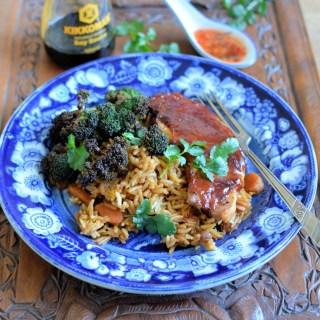 Hoisin Pork, Broccoli and Spicy Rice