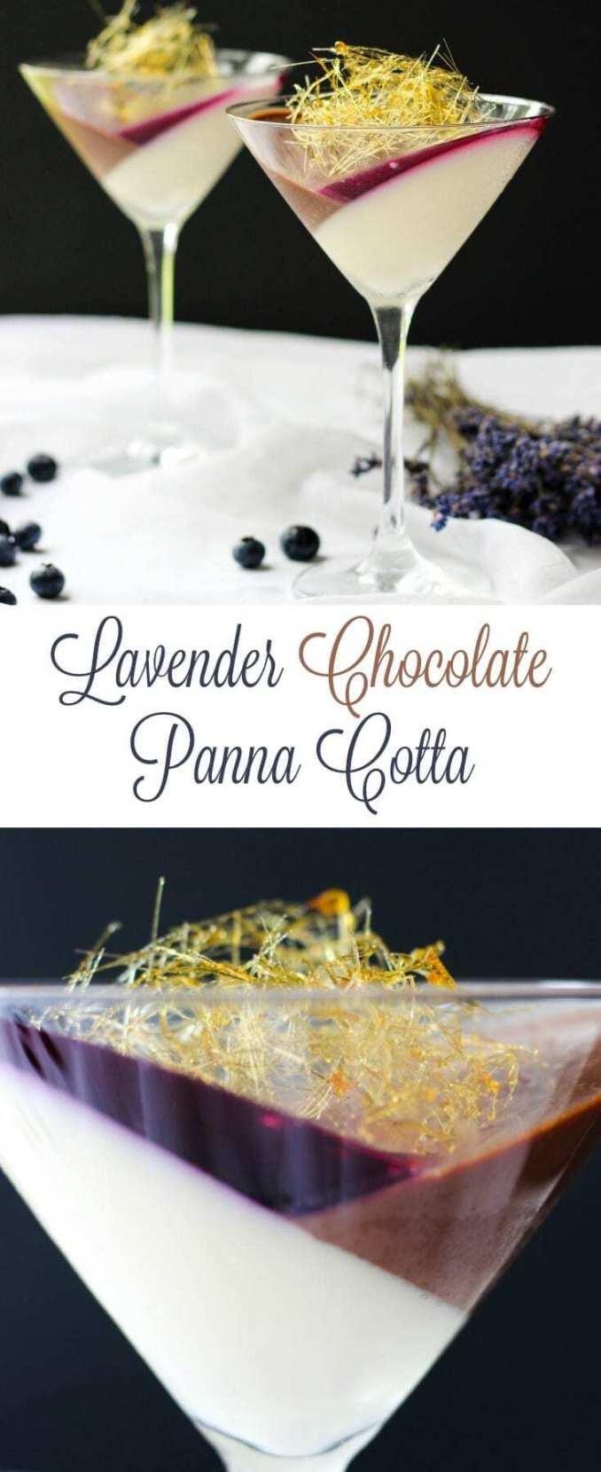Lavender Chocolate Panna Cotta With Blueberry Jello