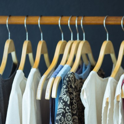 thrifting clothes hung up