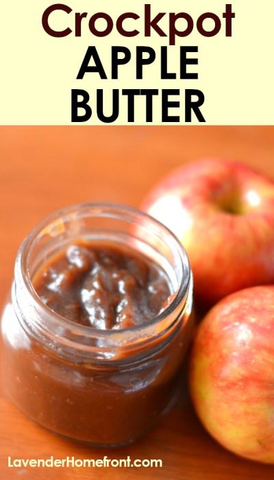 Crock-pot apple butter pinnable image