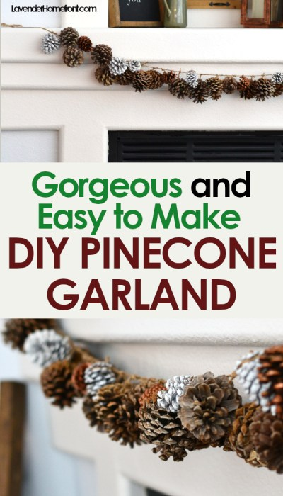 DIY pinecone garland for christmas decoration natural decor