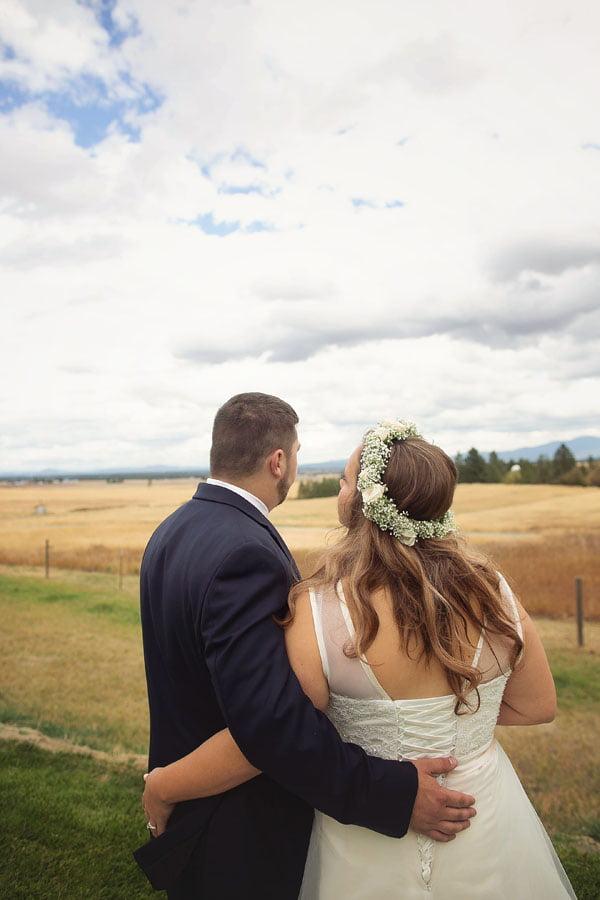 Bride and Groom Overlooking Prarie