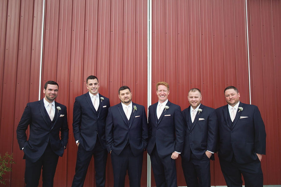 Groom and Groomsmen In A Row