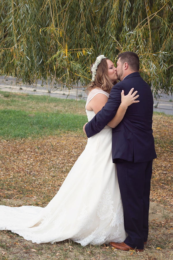 Kiss After Groom Sees Bride in Dress