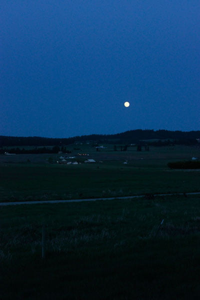 View From Pemberly Park of Moon Over Wildrose Prarie