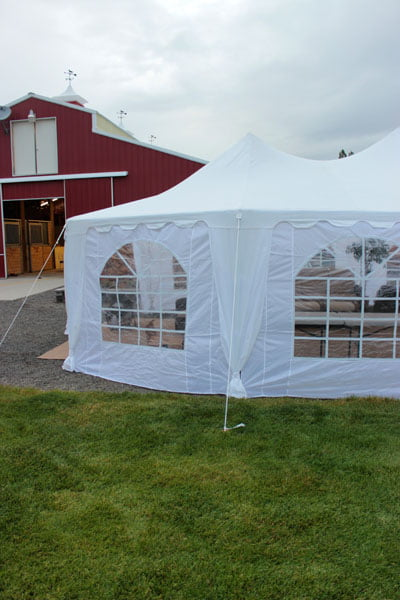 Lounge Tent  in Front of Barn