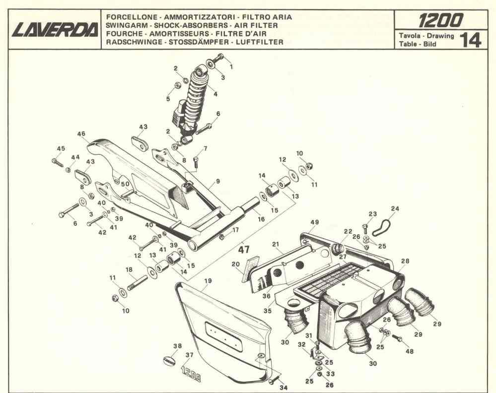 medium resolution of laverda 1000 1200 spare parts swingarm shock absorbers air filter