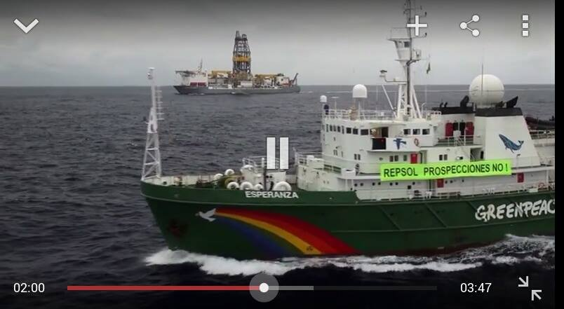 Greenpeace en la zona de prospecciones