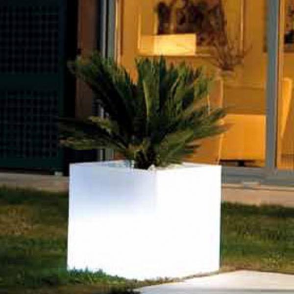 Cubo Macetero luminoso led 40cm luz 16 colores porttil