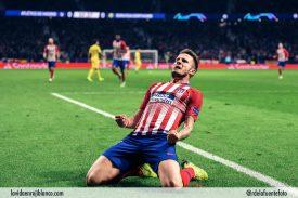 Saúl celebra el gol frente al Dortmund. Foto: Rubén de la Fuente