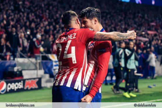 Morata y Giménez celebran el primer tanto ante la Juve. Foto: Rubén de la Fuente