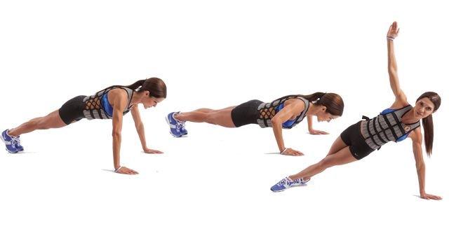 grasa en las axilas ejercicio rotación en plank