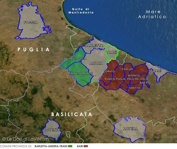 Mappa Docg Castel del Monte Bombino Nero