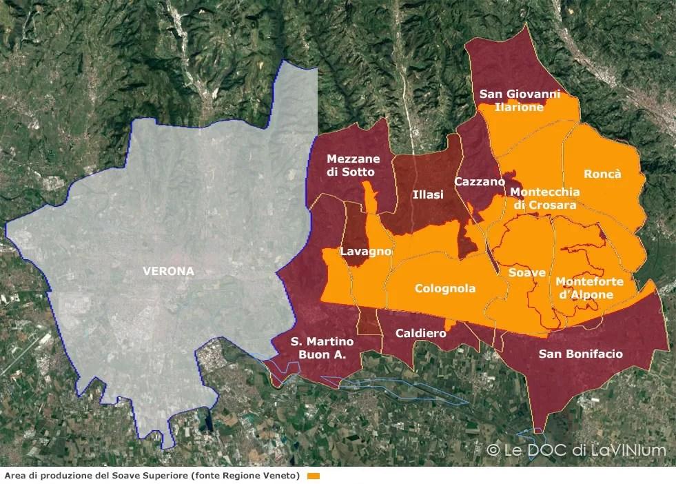 mappa vino Docg Soave Superiore