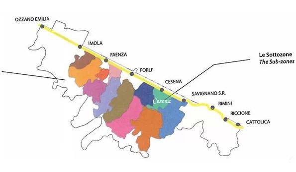 Mappa vino doc Romagna sottozona Cesena