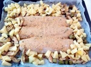 cottura cuori di merluzzo con carciofi e patate