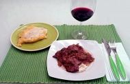Fegato alla veneziana con polenta al gorgonzola dolce e Montello Colli Asolani Venegazzù