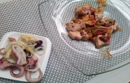 Pesce spada agli agrumi e pistacchi, insalata di moscardini, Etna Bianco