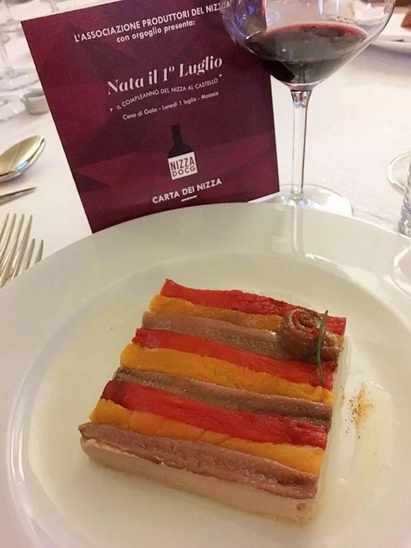 Uno dei piatti proposti alla cena di gala dallo chef Gian Piero Vivalda del ristorante Antica Corona Reale di Cervere