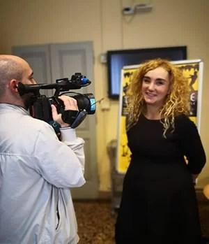 Barbara Brandoli durante un'intervista
