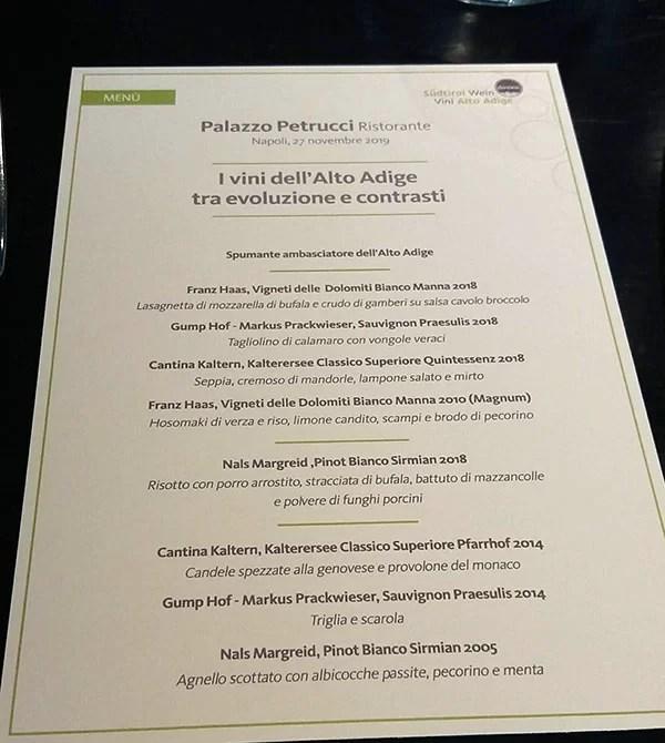 Il menu di Palazzo Petrucci