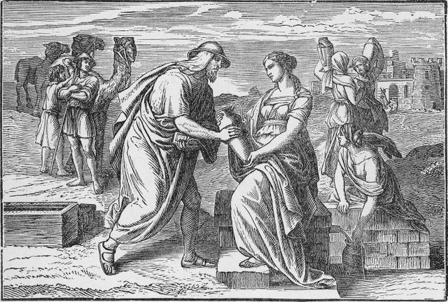 Abraham's servant meeting Rebekah at the well Genesis 24:17