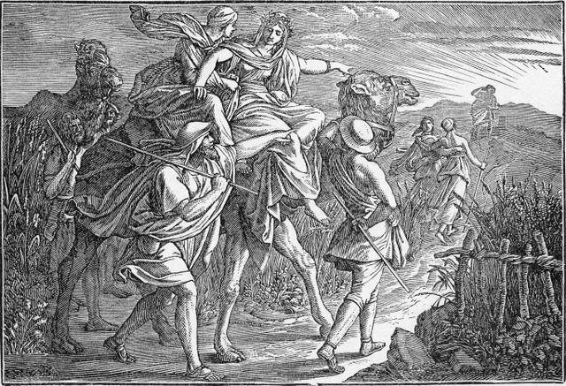 Rebekah sees Isaac coming to meet her Genesis 24:64-65