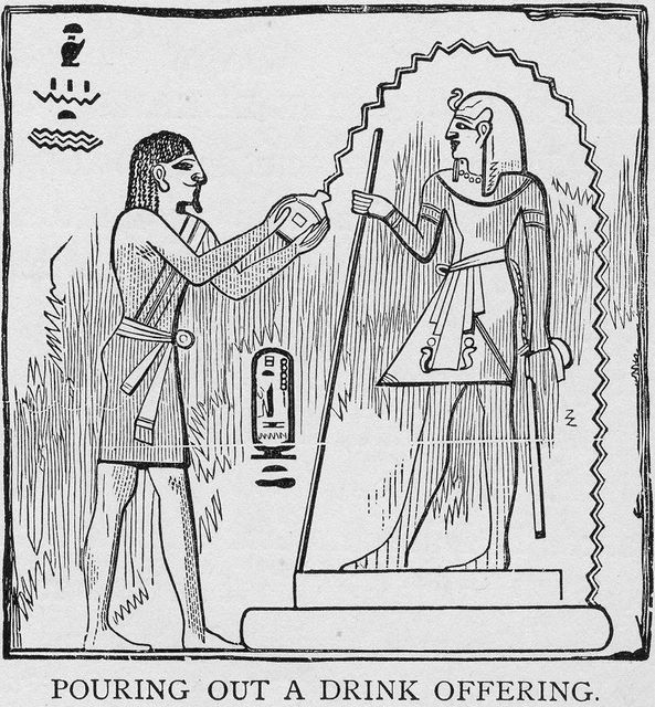 Egyptian hieroglyphics showing a drink offering being poured out