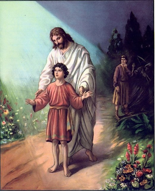 """Jesus guiding a boy as father looks on """"To guide our feet to the way of peace"""" Luke 1:78"""