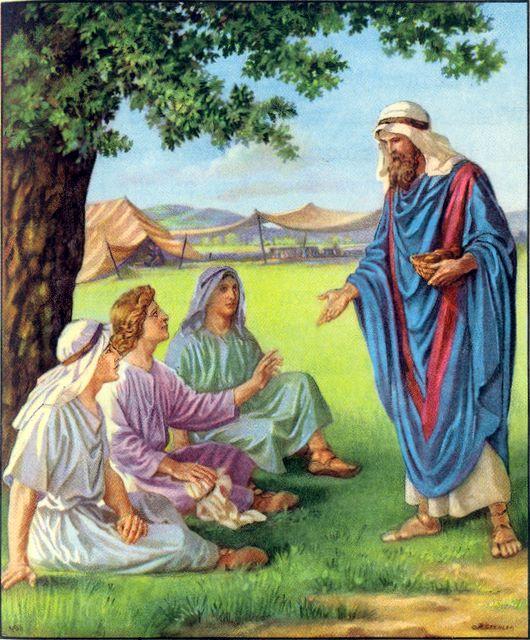 Abraham feeds three guests Genesis 18:6-8